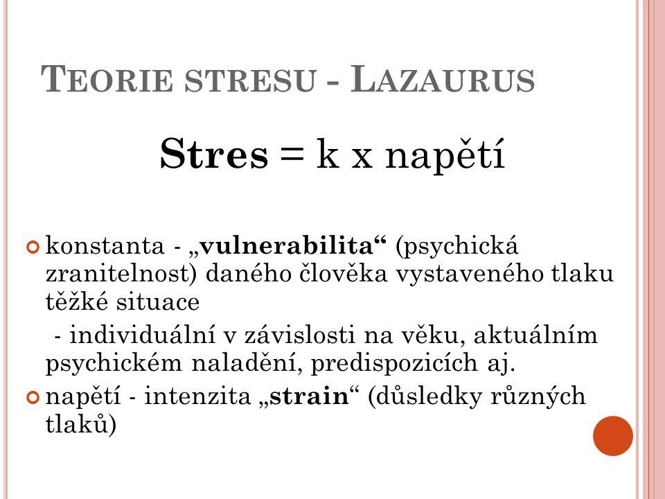 """T EORIE STRESU - L AZAURUS Stres = k x napětí konstanta - """" vulnerabilita"""" (psychická zranitelnost) daného člověka vystaveného tlaku těžké situace - i"""