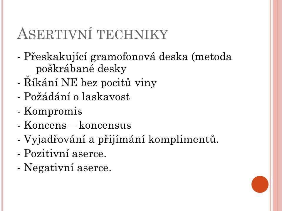 A SERTIVNÍ TECHNIKY - Přeskakující gramofonová deska (metoda poškrábané desky - Říkání NE bez pocitů viny - Požádání o laskavost - Kompromis - Koncens