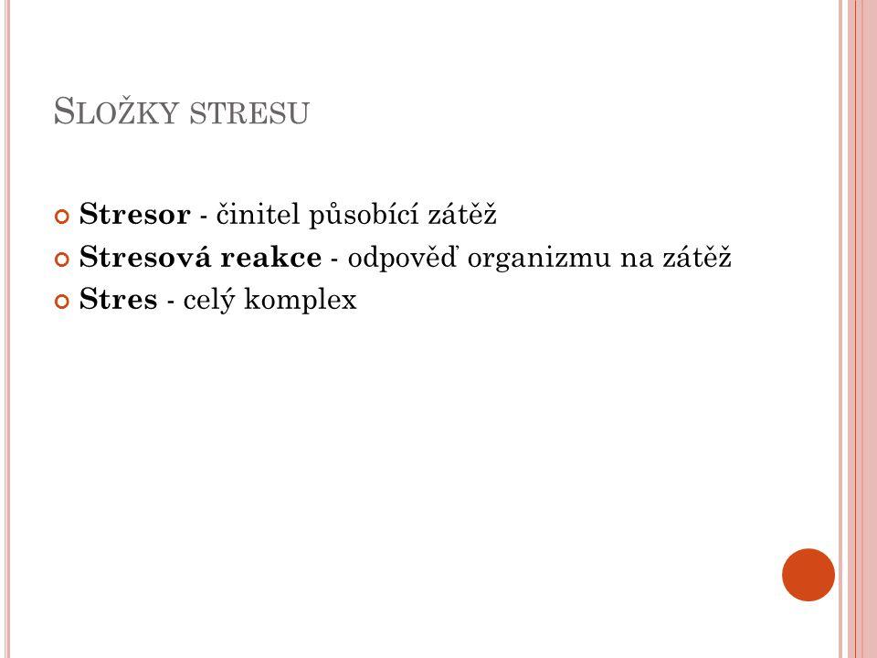 S LOŽKY STRESU Stresor - činitel působící zátěž Stresová reakce - odpověď organizmu na zátěž Stres - celý komplex