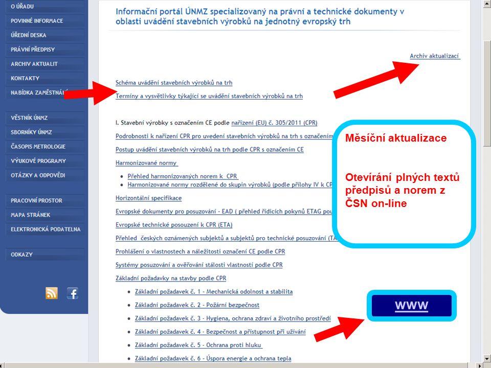 Měsíční aktualizace Otevírání plných textů předpisů a norem z ČSN on-line www