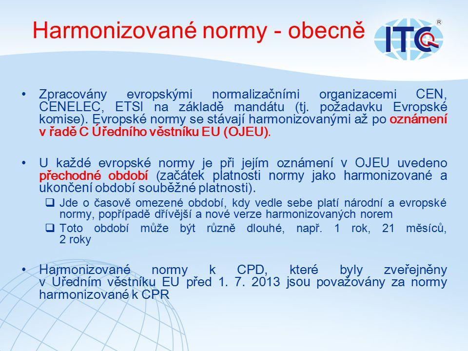 Harmonizované normy - obecně Zpracovány evropskými normalizačními organizacemi CEN, CENELEC, ETSI na základě mandátu (tj.