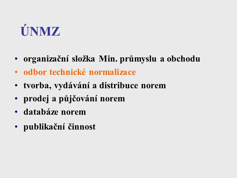 ÚNMZ organizační složka Min. průmyslu a obchodu odbor technické normalizace tvorba, vydávání a distribuce norem prodej a půjčování norem databáze nore