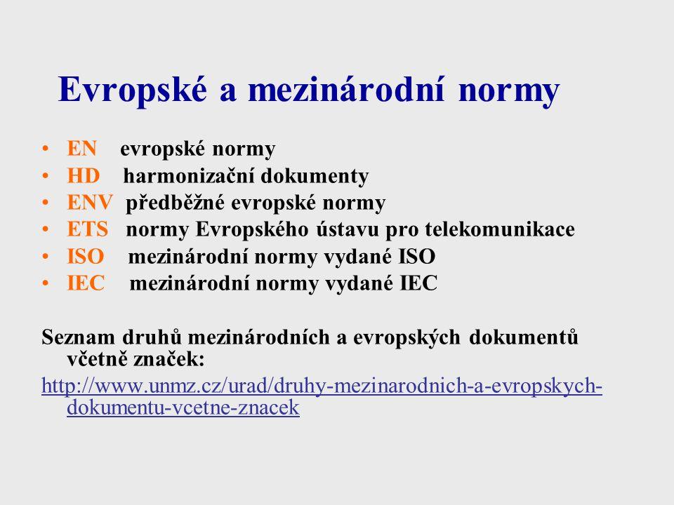 Evropské a mezinárodní normy EN evropské normy HD harmonizační dokumenty ENV předběžné evropské normy ETS normy Evropského ústavu pro telekomunikace I