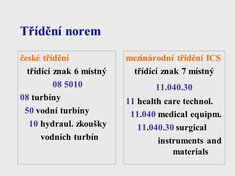 Třídění norem české třídění třídící znak 6 místný 08 5010 08 turbíny 50 vodní turbíny 10 hydraul. zkoušky vodních turbín mezinárodní třídění ICS třídí