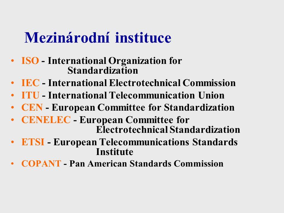 Mezinárodní instituce ISO - International Organization for Standardization IEC - International Electrotechnical Commission ITU - International Telecom