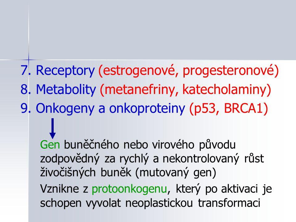 7. Receptory (estrogenové, progesteronové) 8. Metabolity (metanefriny, katecholaminy) 9. Onkogeny a onkoproteiny (p53, BRCA1) Gen buněčného nebo virov