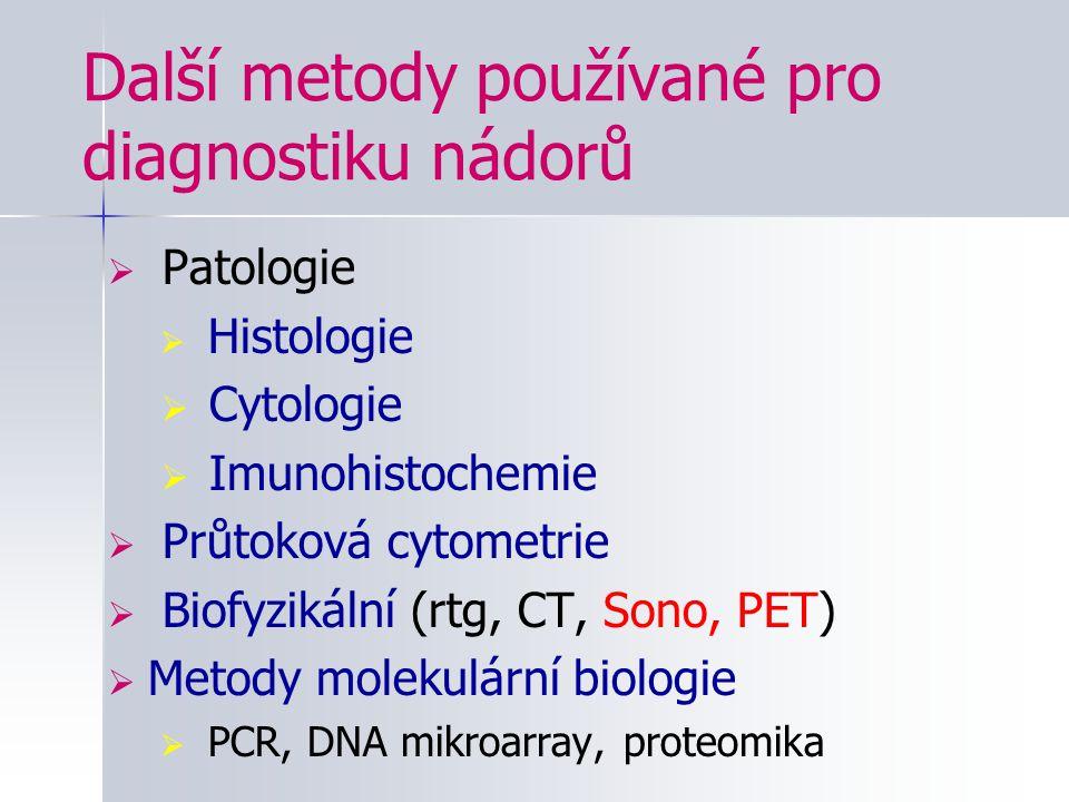 Další metody používané pro diagnostiku nádorů  Patologie  Histologie  Cytologie  Imunohistochemie  Průtoková cytometrie  Biofyzikální (rtg, CT,