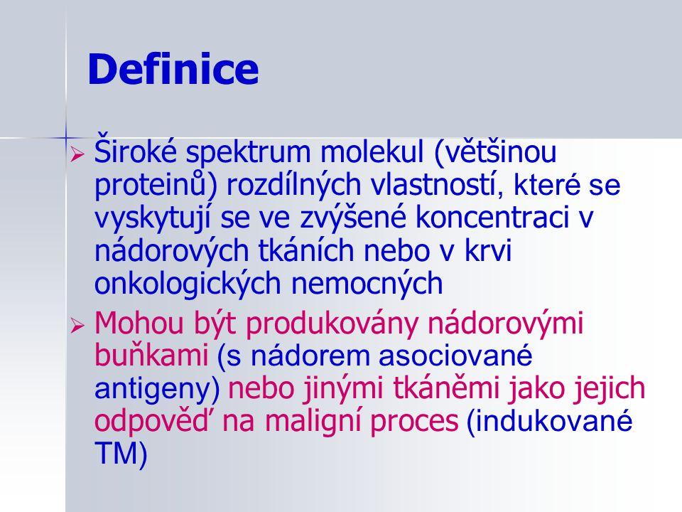 Možnost zvýšení hodnot TM u benigních onemocnění TMNemaligní onemocněníJiná příčina CEA Zánětlivé choroby jater, jaterní cirhóza, pankreatitidaKouření AFP Zánětlivé procesy plic, GIT, jaterní cirhóza, akutní a chronická hepatitida TPA Infekční procesy, jaterní cirhóza, pankreatitida CA15-3 Jaterní cirhóza, akutní hepatitida, postižení ledvinných glomerulů CA125 Ovariální cysty, choroby jater, pankreatu, žlučníkuTěhotenství (1.trimestr) CA19-9 Jaterní cirhóza, cholelithiáza, chronická hepatitida, akutní a chronická pankreatitida,choroby žlučových cest, diabetes hCG Mola hydatidózaTěhotenství B2M Postižení ledvin Ferritin Záněty obecně, poruchy metabolizmu železa CYFRA21-1 Choroby urologického traktu, myomy/ovariální cysty