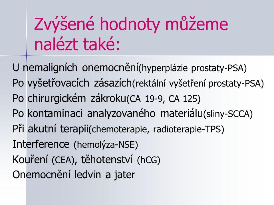Zvýšené hodnoty můžeme nalézt také: U nemaligních onemocnění (hyperplázie prostaty-PSA) Po vyšetřovacích zásazích (rektální vyšetření prostaty-PSA) Po