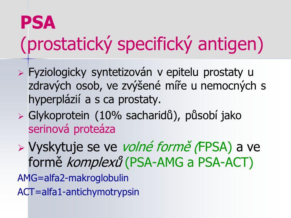 PSA (prostatický specifický antigen)  Fyziologicky syntetizován v epitelu prostaty u zdravých osob, ve zvýšené míře u nemocných s hyperplázií a s ca