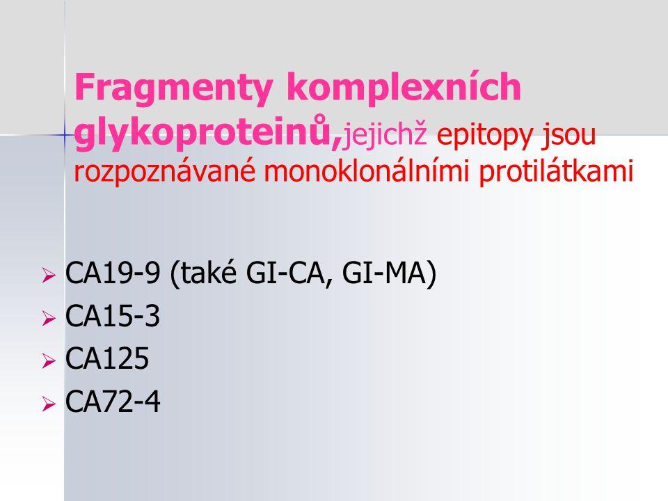 Fragmenty komplexních glykoproteinů, jejichž epitopy jsou rozpoznávané monoklonálními protilátkami  CA19-9 (také GI-CA, GI-MA)  CA15-3  CA125  CA7