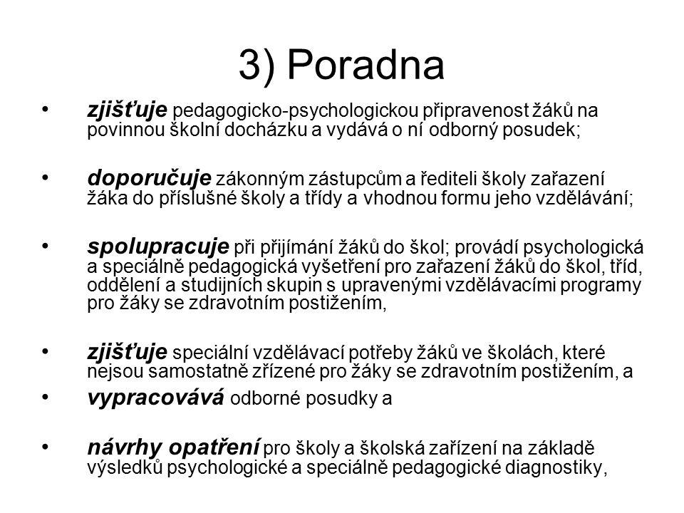 § 5 Poradna (1) Poradna poskytuje služby pedagogicko- psychologického a speciálně pedagogického poradenství a pedagogicko-psychologickou pomoc při výc