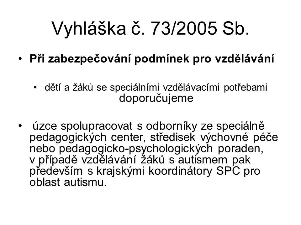 Vyhláška č. 73/2005 Sb. Podpůrnými opatřeními při speciálním vzdělávání se pro účely této vyhlášky rozumí využití speciálních metod, postupů, forem a