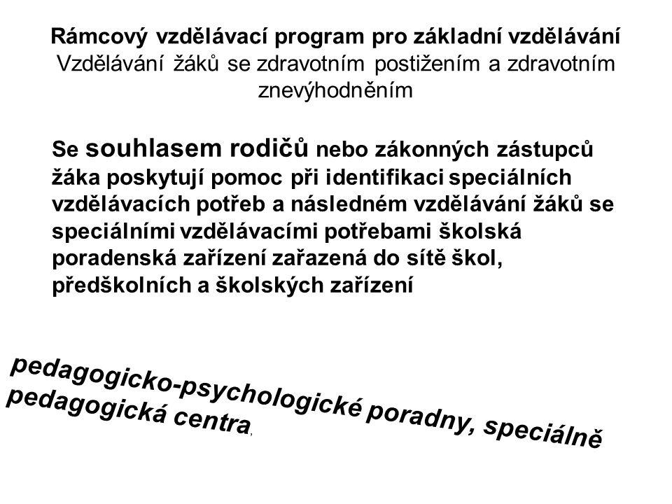 Vyhláška č. 73/2005 Sb. Při zabezpečování podmínek pro vzdělávání dětí a žáků se speciálními vzdělávacími potřebami doporučujeme úzce spolupracovat s