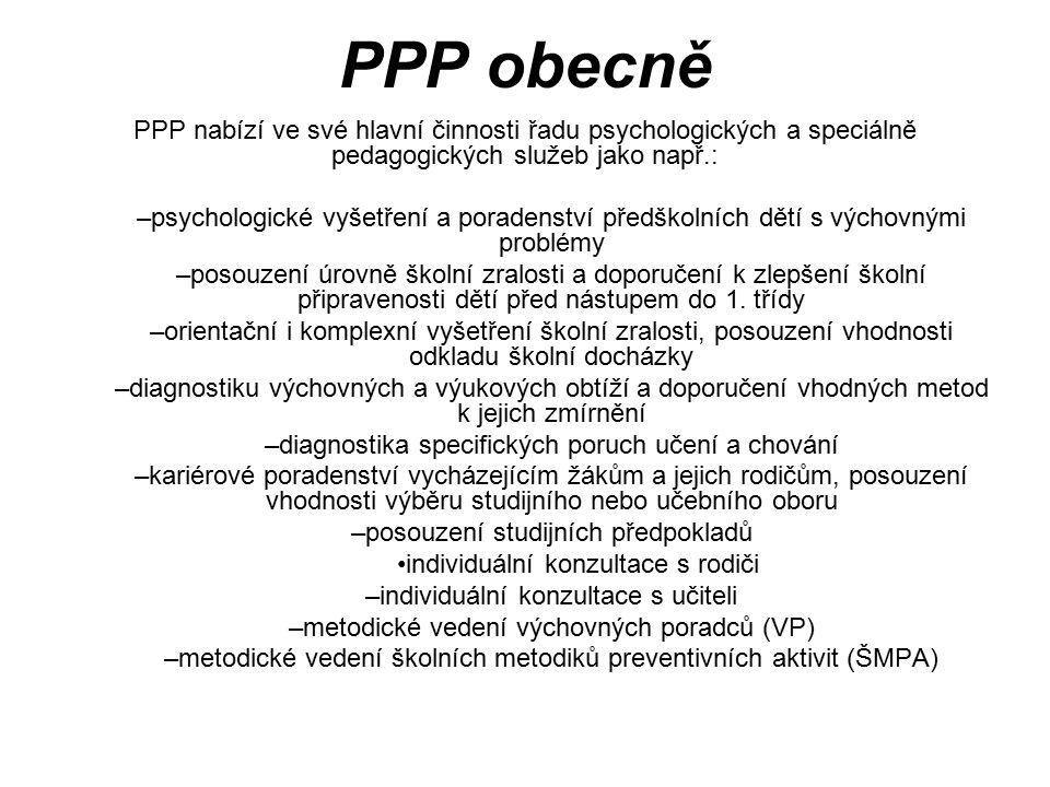 PPP obecně Zřizovatel vymezil hlavní činnost organizace takto: Hlavním účelem zřízení organizace je poskytování poradentských služeb dětem, žákům, stu