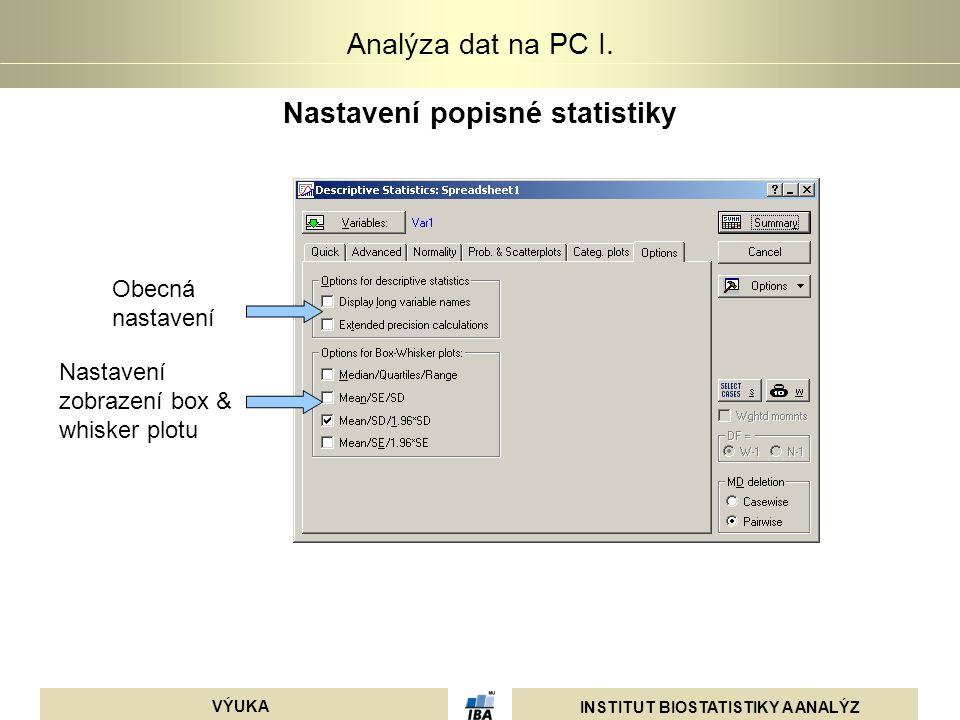 INSTITUT BIOSTATISTIKY A ANALÝZ VÝUKA Analýza dat na PC I. Nastavení popisné statistiky Obecná nastavení Nastavení zobrazení box & whisker plotu