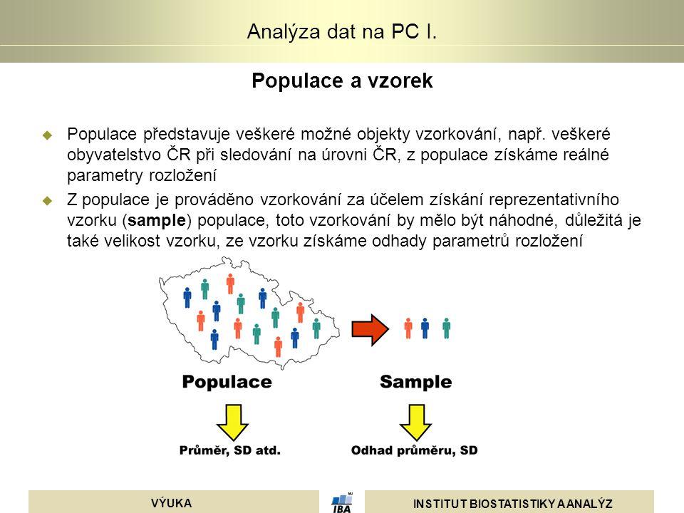 INSTITUT BIOSTATISTIKY A ANALÝZ VÝUKA Analýza dat na PC I. Populace a vzorek  Populace představuje veškeré možné objekty vzorkování, např. veškeré ob