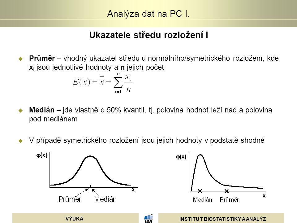 INSTITUT BIOSTATISTIKY A ANALÝZ VÝUKA Analýza dat na PC I. Ukazatele středu rozložení I  Průměr – vhodný ukazatel středu u normálního/symetrického ro