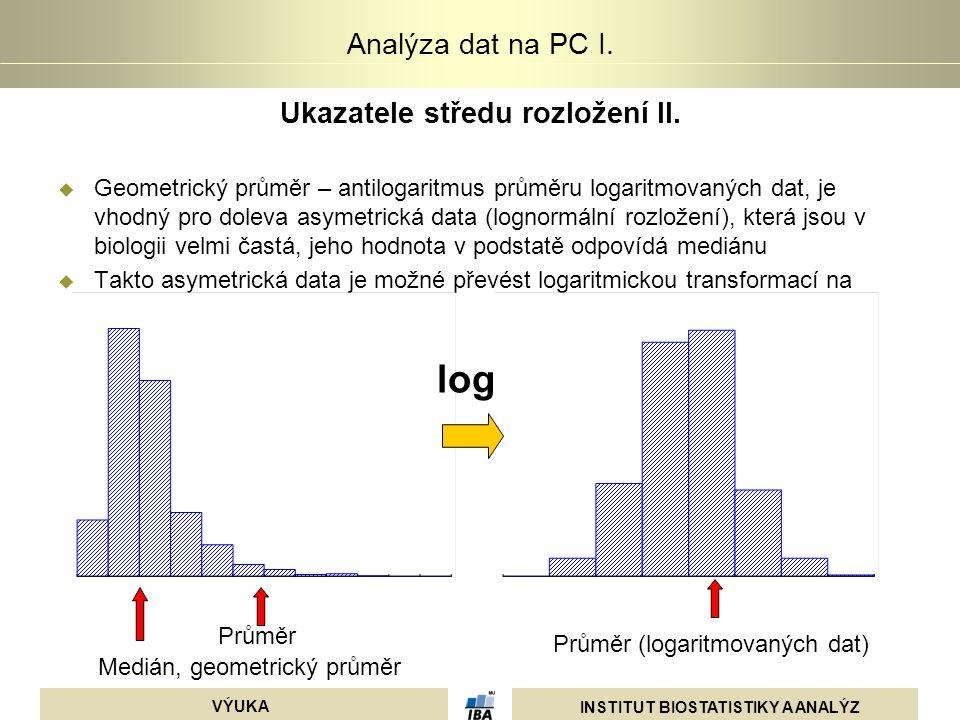 INSTITUT BIOSTATISTIKY A ANALÝZ VÝUKA Analýza dat na PC I. Ukazatele středu rozložení II.  Geometrický průměr – antilogaritmus průměru logaritmovanýc
