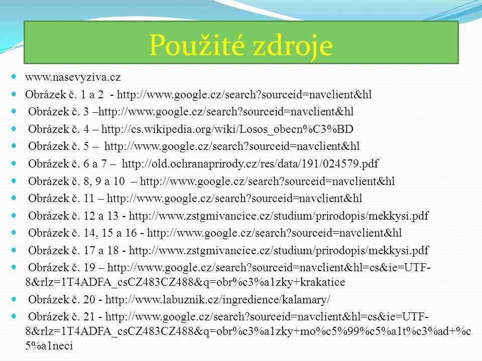 Použité zdroje www.nasevyziva.cz Obrázek č. 1 a 2 - http://www.google.cz/search?sourceid=navclient&hl Obrázek č. 3 –http://www.google.cz/search?source
