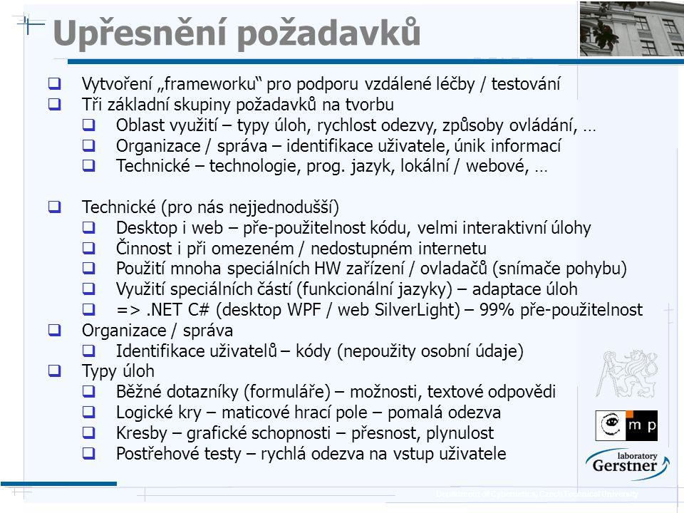 """Department of Cybernetics, Czech Technical University Upřesnění požadavků  Vytvoření """"frameworku pro podporu vzdálené léčby / testování  Tři základní skupiny požadavků na tvorbu  Oblast využití – typy úloh, rychlost odezvy, způsoby ovládání, …  Organizace / správa – identifikace uživatele, únik informací  Technické – technologie, prog."""