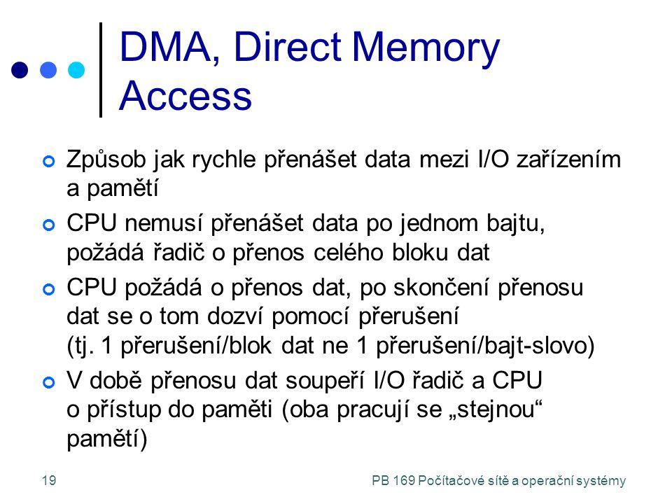 PB 169 Počítačové sítě a operační systémy19 DMA, Direct Memory Access Způsob jak rychle přenášet data mezi I/O zařízením a pamětí CPU nemusí přenášet data po jednom bajtu, požádá řadič o přenos celého bloku dat CPU požádá o přenos dat, po skončení přenosu dat se o tom dozví pomocí přerušení (tj.