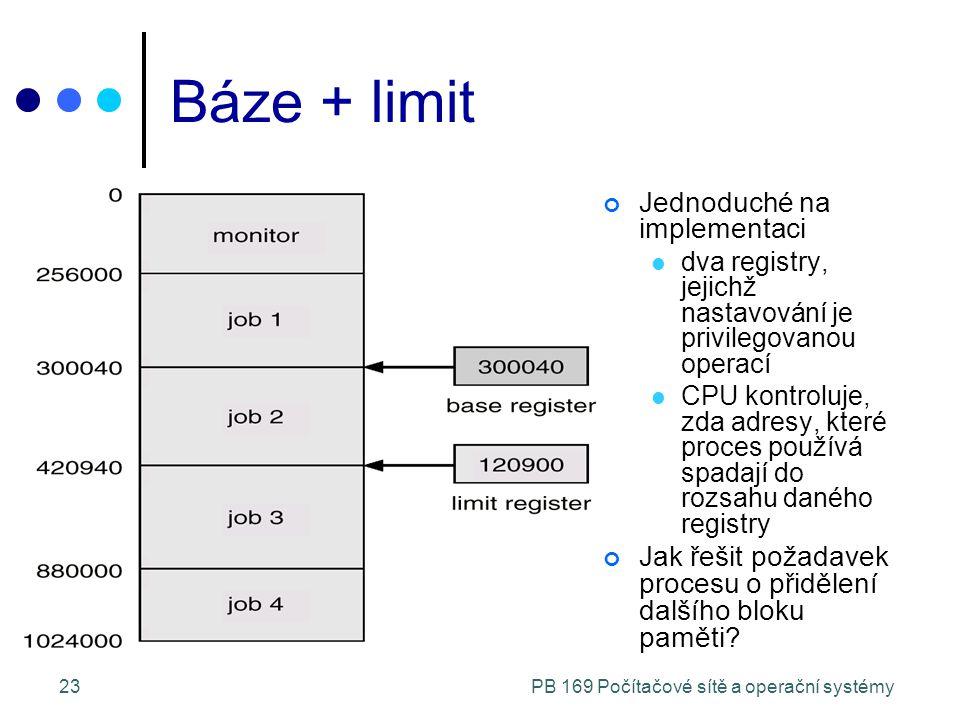 PB 169 Počítačové sítě a operační systémy23 Báze + limit Jednoduché na implementaci dva registry, jejichž nastavování je privilegovanou operací CPU kontroluje, zda adresy, které proces používá spadají do rozsahu daného registry Jak řešit požadavek procesu o přidělení dalšího bloku paměti