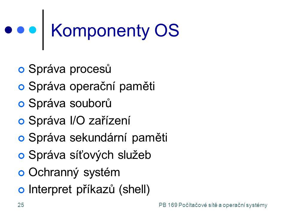PB 169 Počítačové sítě a operační systémy25 Komponenty OS Správa procesů Správa operační paměti Správa souborů Správa I/O zařízení Správa sekundární paměti Správa síťových služeb Ochranný systém Interpret příkazů (shell)