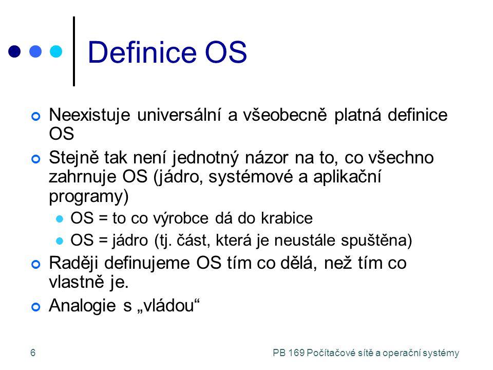 PB 169 Počítačové sítě a operační systémy6 Definice OS Neexistuje universální a všeobecně platná definice OS Stejně tak není jednotný názor na to, co všechno zahrnuje OS (jádro, systémové a aplikační programy) OS = to co výrobce dá do krabice OS = jádro (tj.