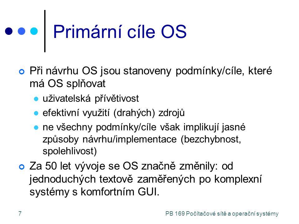 PB 169 Počítačové sítě a operační systémy8 Typy počítačových systémů Stolní systémy Vyhrazené pro 1 uživatele Paralelní systémy Sdílí paměť a hodinový signál, SMP, AMP Distribuované systémy Vlastní paměť Real-time systémy Pevně stanovené časové limity Kapesní systémy