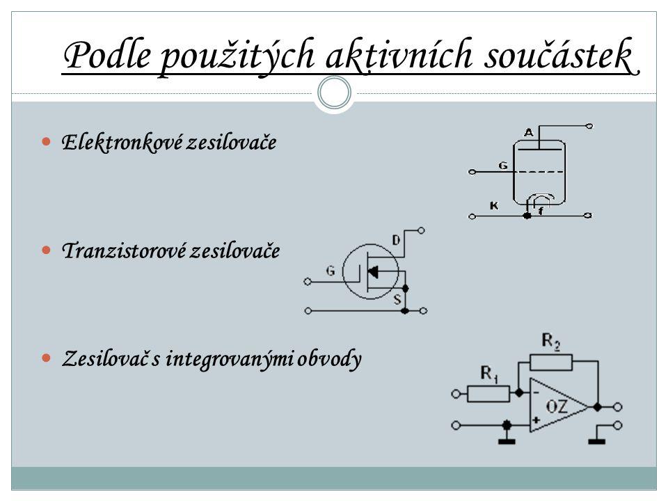 Podle použitých aktivních součástek Elektronkové zesilovače Tranzistorové zesilovače Zesilovač s integrovanými obvody