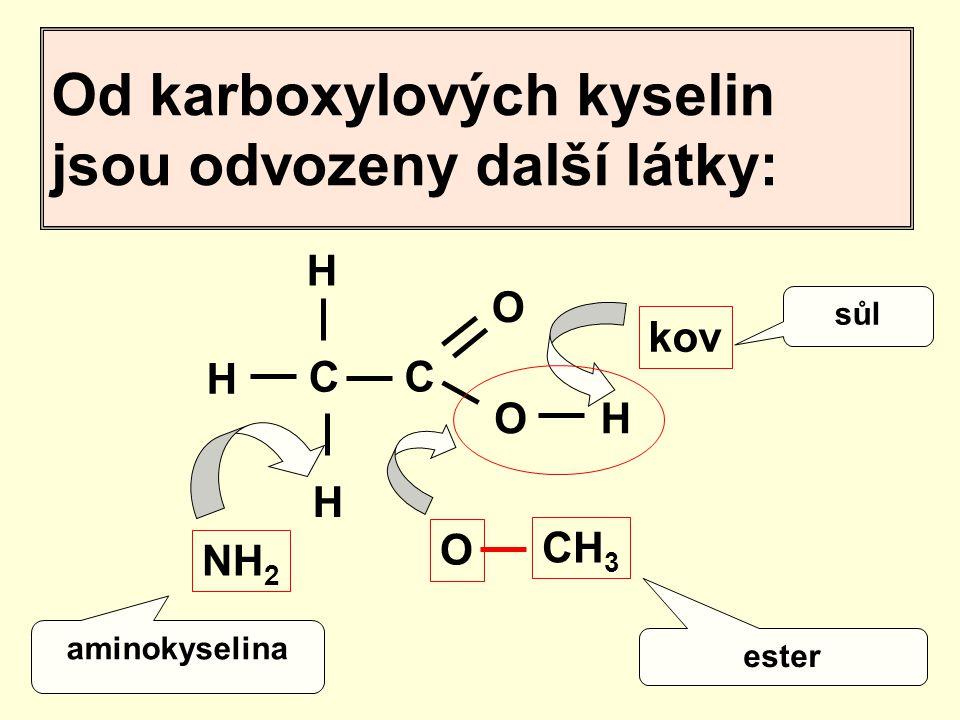 Od karboxylových kyselin jsou odvozeny další látky: H H C C O O H H NH 2 kov O CH 3 aminokyselina sůl ester