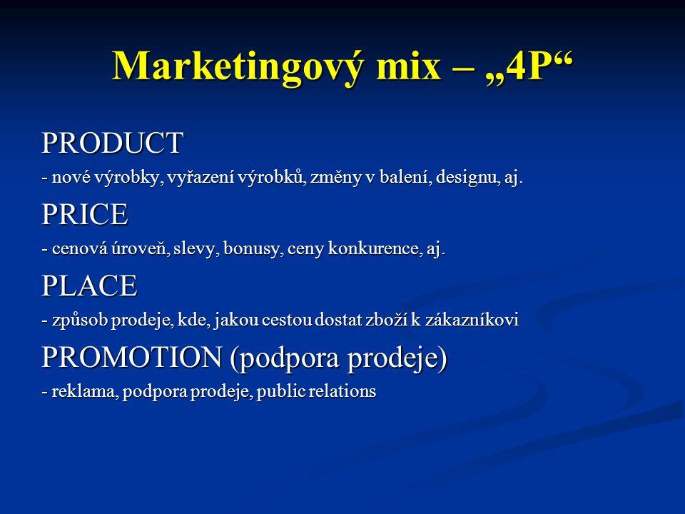 """Marketingový mix – """"4P"""" PRODUCT - nové výrobky, vyřazení výrobků, změny v balení, designu, aj. PRICE - cenová úroveň, slevy, bonusy, ceny konkurence,"""