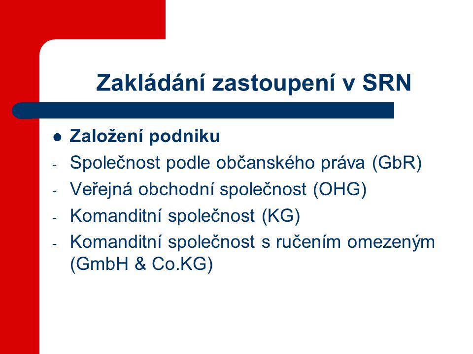 Zakládání zastoupení v SRN Založení podniku - Společnost podle občanského práva (GbR) - Veřejná obchodní společnost (OHG) - Komanditní společnost (KG) - Komanditní společnost s ručením omezeným (GmbH & Co.KG)
