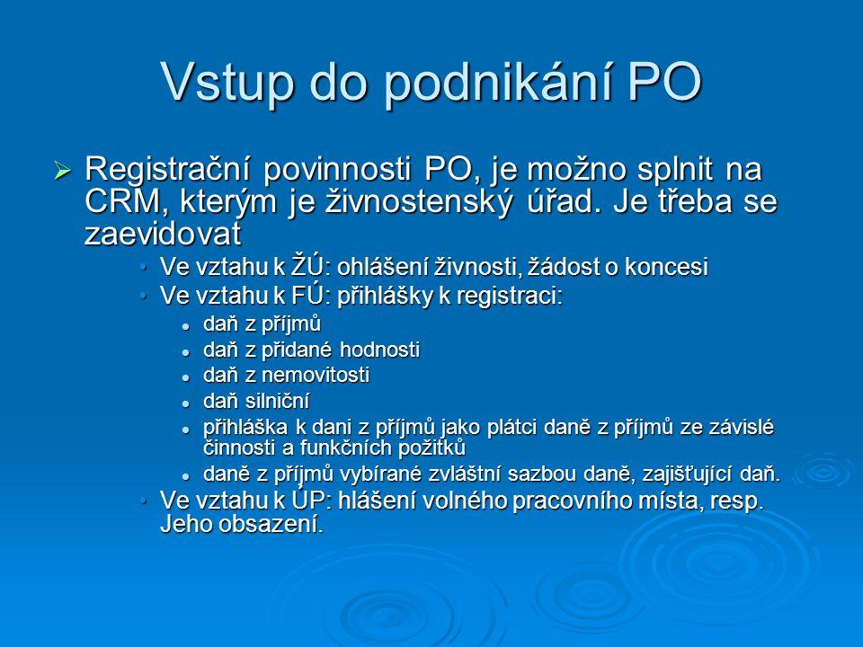 Vstup do podnikání PO  Registrační povinnosti PO, je možno splnit na CRM, kterým je živnostenský úřad. Je třeba se zaevidovat Ve vztahu k ŽÚ: ohlášen