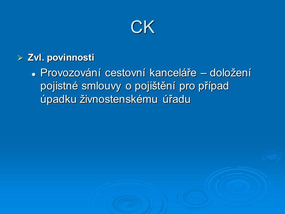 CK  Zvl. povinnosti Provozování cestovní kanceláře – doložení pojistné smlouvy o pojištění pro případ úpadku živnostenskému úřadu Provozování cestovn