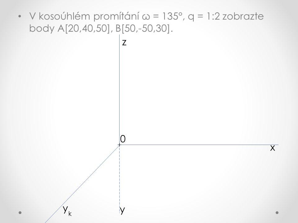V kosoúhlém promítání ω = 135°, q = 1:2 zobrazte body A[20,40,50], B[50,-50,30]. x z y k y + 0