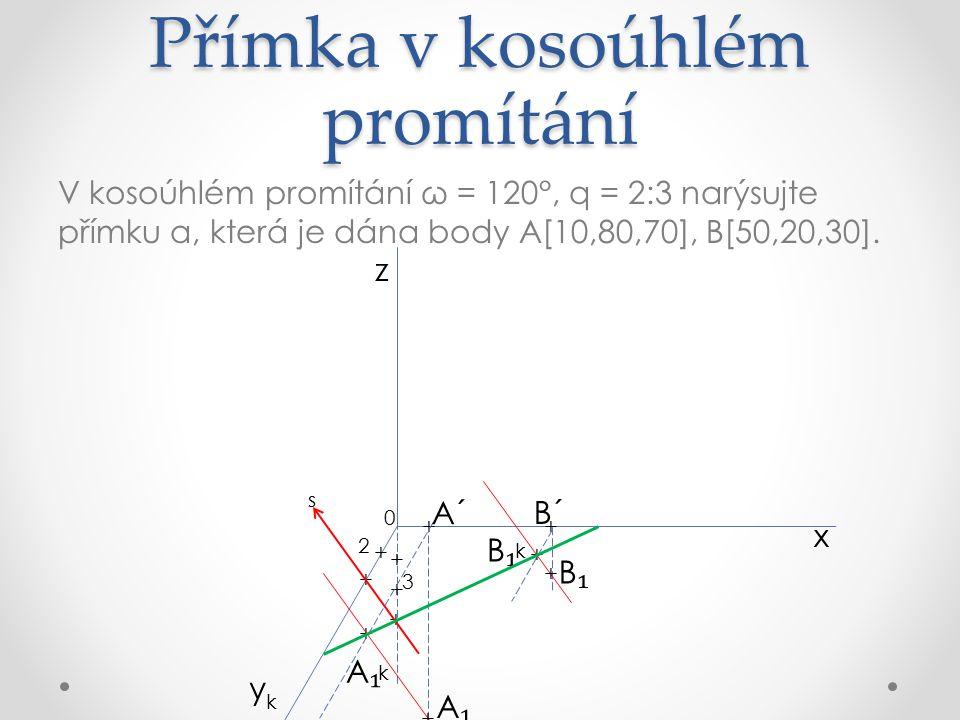 Přímka v kosoúhlém promítání V kosoúhlém promítání ω = 120°, q = 2:3 narýsujte přímku a, která je dána body A[10,80,70], B[50,20,30].