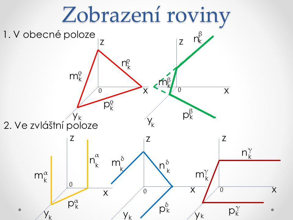 Zobrazení roviny 1.V obecné poloze 2.