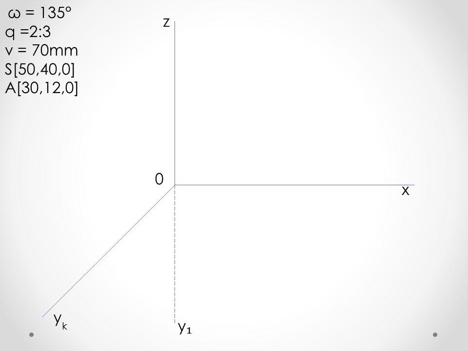 ω = 135° q =2:3 v = 70mm S[50,40,0] A[30,12,0] x y z k 0 y₁y₁