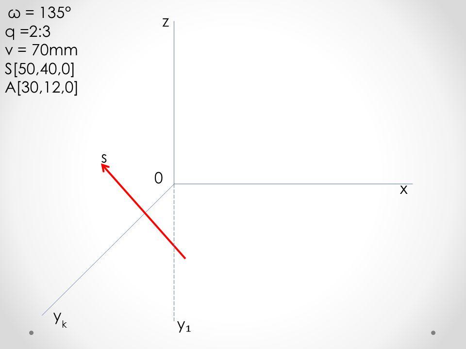 ω = 135° q =2:3 v = 70mm S[50,40,0] A[30,12,0] x y z k 0 y₁y₁ s