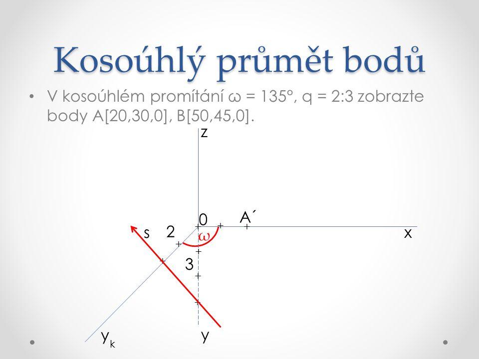 Kosoúhlý průmět bodů V kosoúhlém promítání ω = 135°, q = 2:3 zobrazte body A[20,30,0], B[50,45,0].