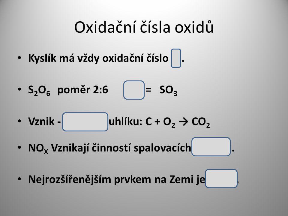Oxidační čísla oxidů Kyslík má vždy oxidační číslo -II.