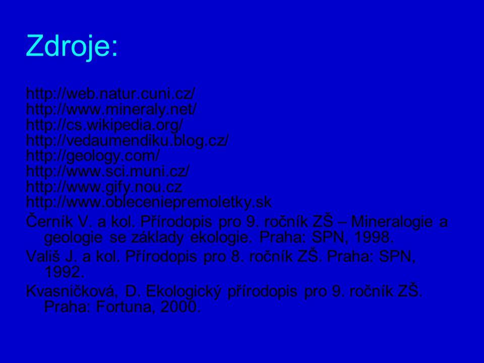 Zdroje: http://web.natur.cuni.cz/ http://www.mineraly.net/ http://cs.wikipedia.org/ http://vedaumendiku.blog.cz/ http://geology.com/ http://www.sci.muni.cz/ http://www.gify.nou.cz http://www.obleceniepremoletky.sk Černík V.
