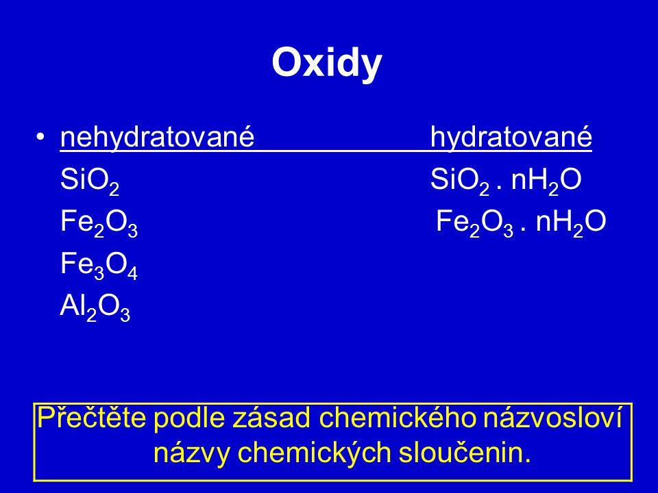 Oxidy nehydratované hydratované SiO 2 SiO 2.nH 2 O Fe 2 O 3 Fe 2 O 3.