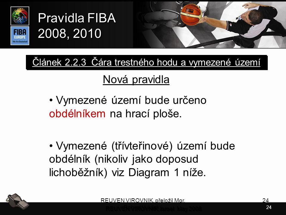 24 Pravidla FIBA 2008, 2010 Pravidla FIBA 2008, 2010 REUVEN VIROVNIK, přeložil Mgr. Robert Vyklický 24 Nová pravidla Vymezené území bude určeno obdéln