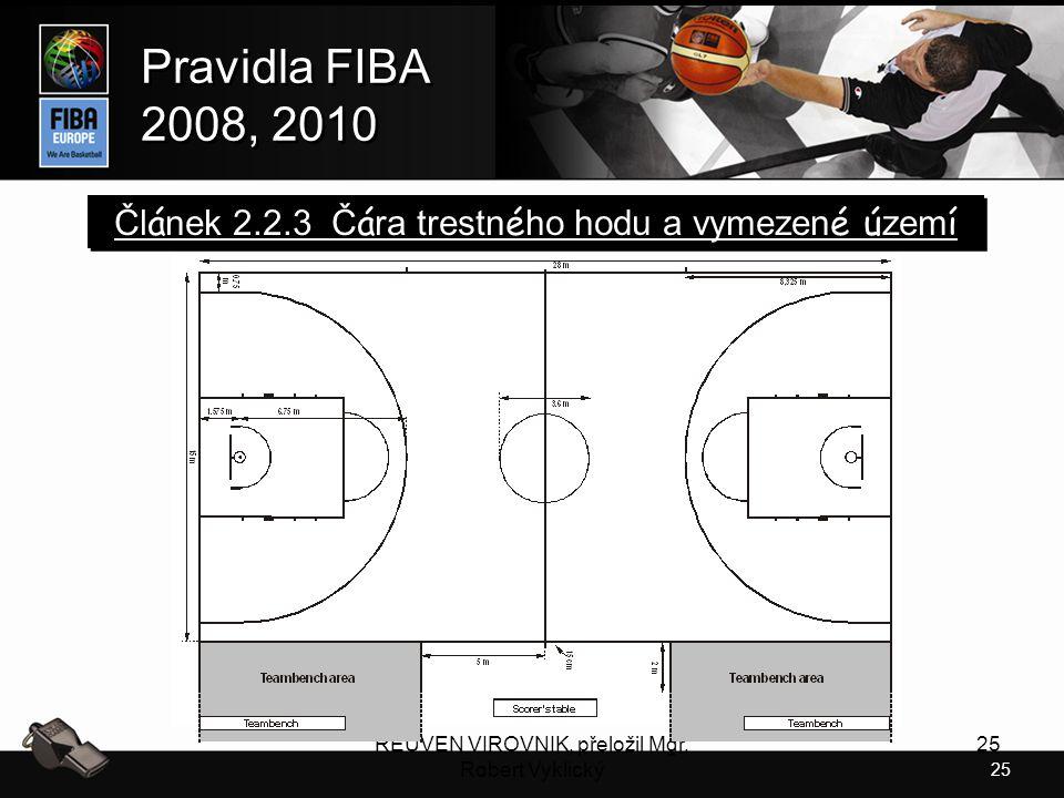 25 Pravidla FIBA 2008, 2010 Pravidla FIBA 2008, 2010 REUVEN VIROVNIK, přeložil Mgr. Robert Vyklický 25 Čl á nek 2.2.3 Č á ra trestn é ho hodu a vymeze