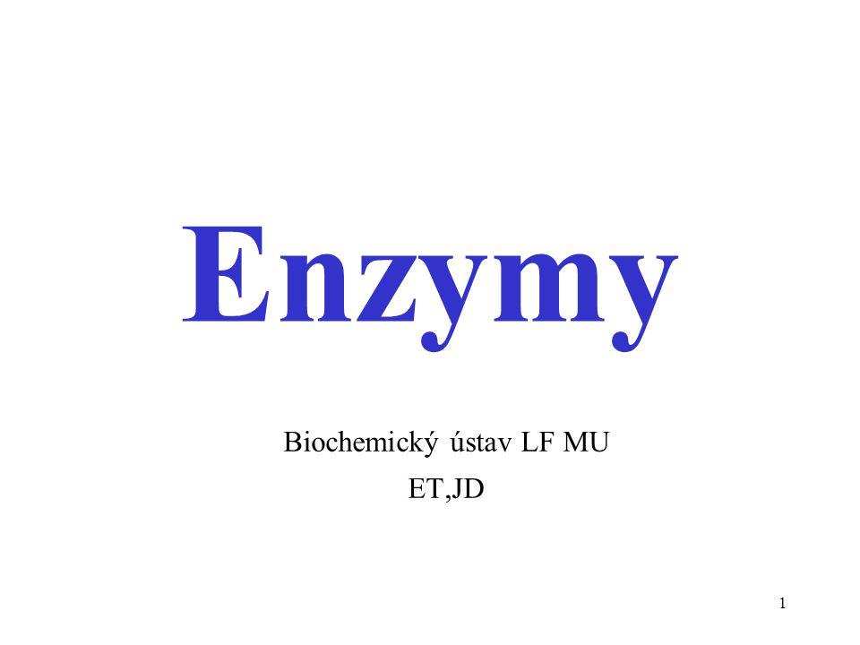 2 Obecné vlastnosti enzymů biokatalyzátory různé proteiny / také RNA (ribozym) s kovalentně vázanou prostetickou skupinou (kovem) oligomerní / multienzymové komplexy / asociované s membránami atd.