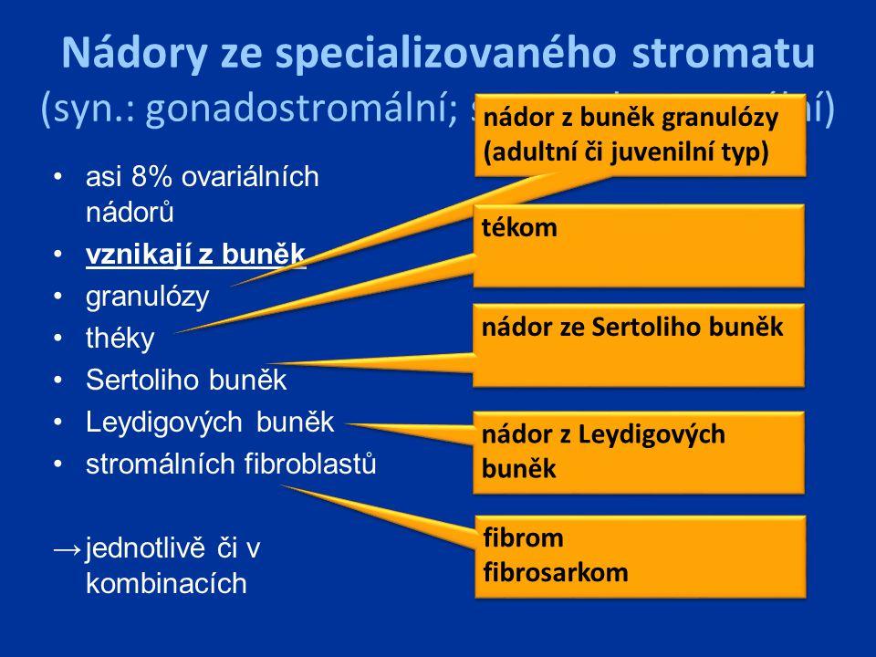 Nádory ze specializovaného stromatu (syn.: gonadostromální; sex-cord - stromální) asi 8% ovariálních nádorů vznikají z buněk granulózy théky Sertoliho