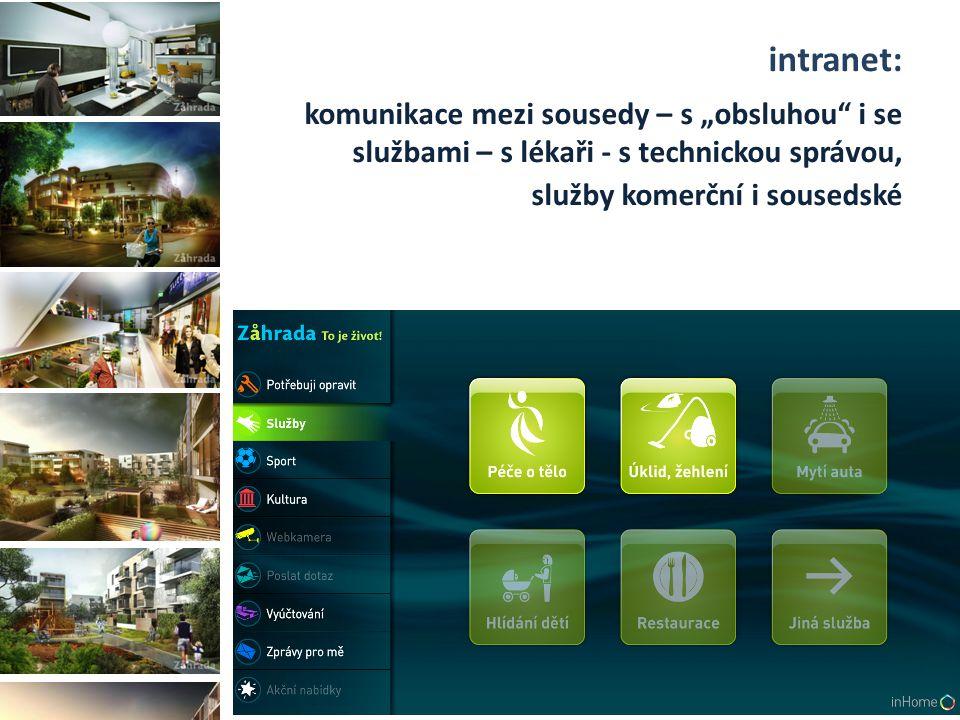"""intranet: komunikace mezi sousedy – s """"obsluhou i se službami – s lékaři - s technickou správou, služby komerční i sousedské"""